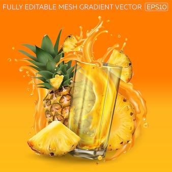 Abacaxis e um copo de suco em uma laranja.