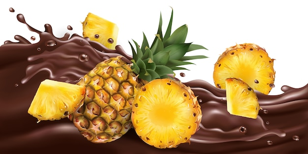 Abacaxis inteiros e fatiados em uma onda de chocolate.