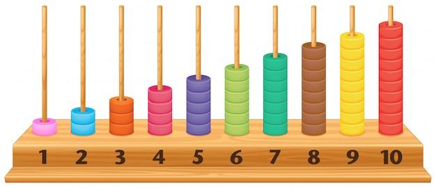 Ábaco colorido de 1 a 10