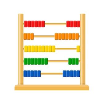 Ábaco com contas coloridas de arco-íris isoladas