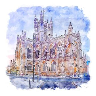 Abadia de bath, inglaterra, esboço em aquarela, ilustrações desenhadas à mão
