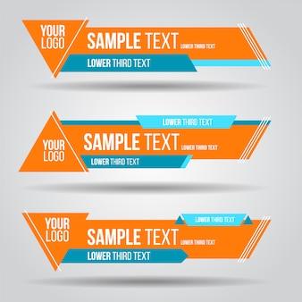 Abaixe o terceiro modelo colorido do projeto da tevê contemporâneo moderno. conjunto de banners bar transmissão de tela
