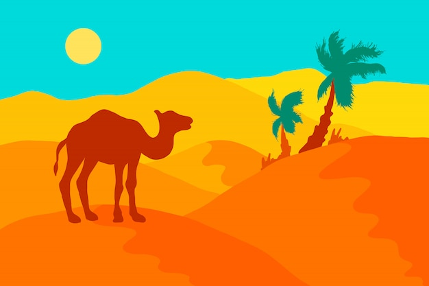 Abandone a paisagem com camelo, palmeiras e sol.