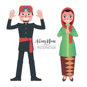 Abang none, a origem tradicional do casal de jacarta, indonésia