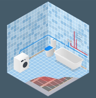 Abastecimento de água do banheiro e esquema de aquecimento isométrico