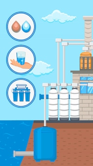 Abastecimento de água e panfleto de vetor de sistema de purificação
