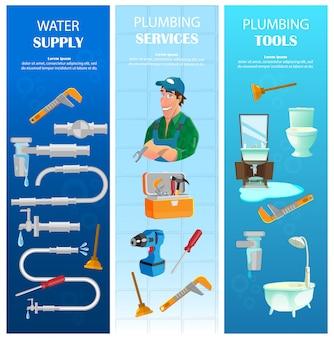 Abastecimento de água, serviço de encanamento com conjunto de banners verticais de ferramentas