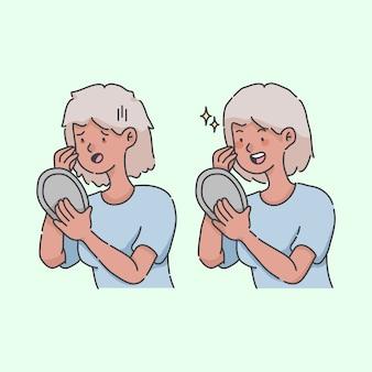 Abatido e florescendo olhando no espelho cartoon ilustração