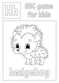 Abc jogo para crianças. página para colorir de alfabeto. personagem de desenho animado.