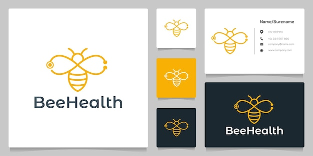 Abelha abelha abstrata e contorno de linha de estetoscópio com cartão de visita