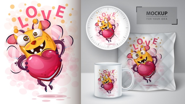 Abelha bonita com poster de coração e merchandising