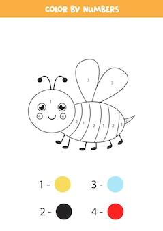 Abelha bonita de cor por números. página para colorir educacional para crianças em idade pré-escolar.