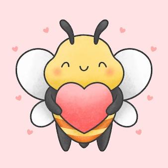 Abelha bonita, segurando o coração mão desenhada estilo desenhado