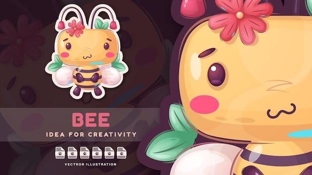 Abelha bonito animal personagem dos desenhos animados. vetor eps 10