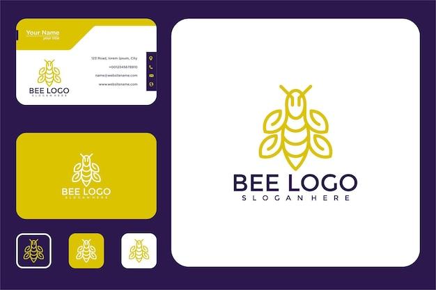 Abelha com design de logotipo de arte de linha de folha e cartão de visita