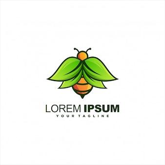 Abelha com logotipo de folhas
