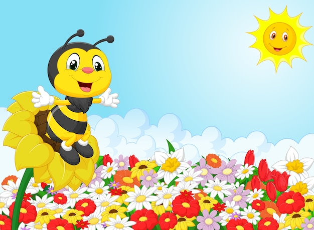 Abelha de desenho animado sentado na flor | Vetor Premium