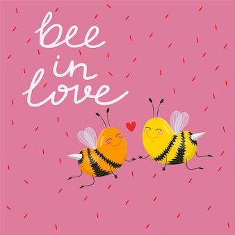 Abelha de design tipográfico apaixonada por um lindo par de abelhas de desenho animado