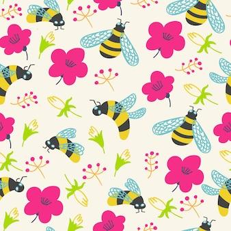Abelha de flores com padrão de verão
