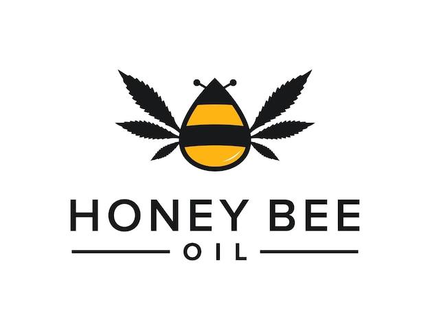 Abelha de mel com folha de óleo de cannabis simples, criativo, geométrico, elegante, moderno, design de logotipo