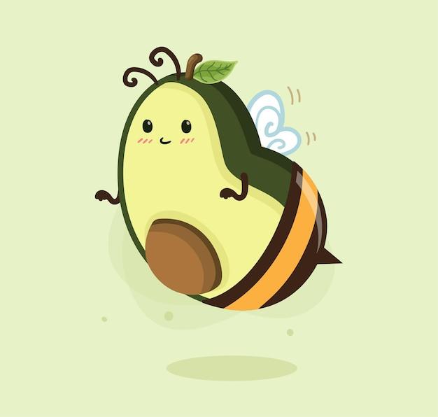 Abelha de mel de abacate desenho animado