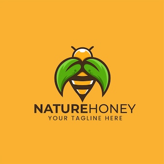 Abelha de mel de natureza com ilustração de folha, logotipo, modelo, emblema, conceito de design, símbolo criativo