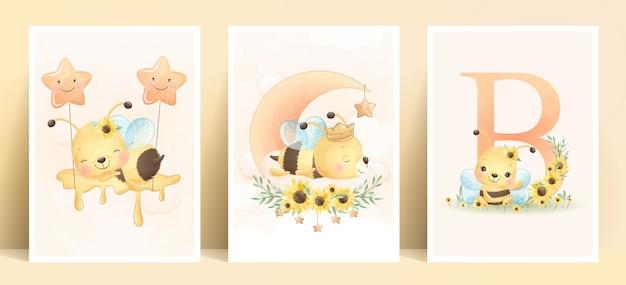 Abelha doodle fofa com coleção floral