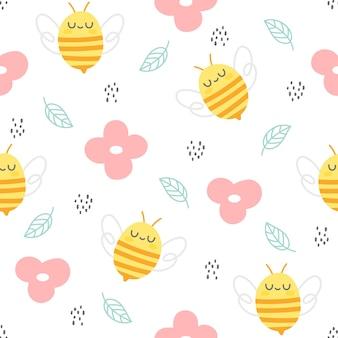 Abelha e flores sem costura padrão