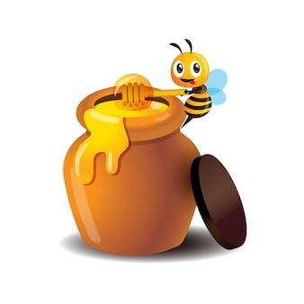 Abelha fofa de desenho animado usando concha de mel para mexer o mel do pote de mel