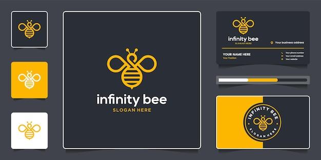 Abelha infinita com design de logotipo de arte de linha e cartão de visita