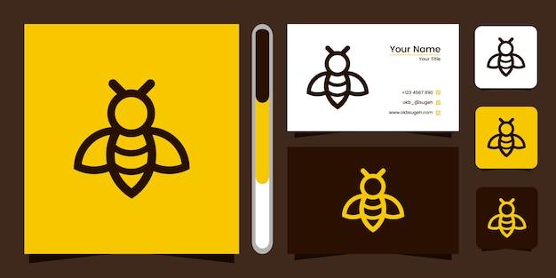 Abelha linha arte logotipo design e cartão de visita