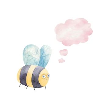 Abelha listrada fofa sorrindo e ícone do pensamento, nuvem, aquarela de ilustração infantil
