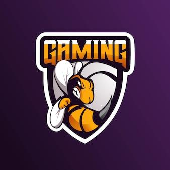 Abelha mascote logotipo projeto vector com estilo moderno conceito de ilustração para impressão de distintivo, emblema et camiseta