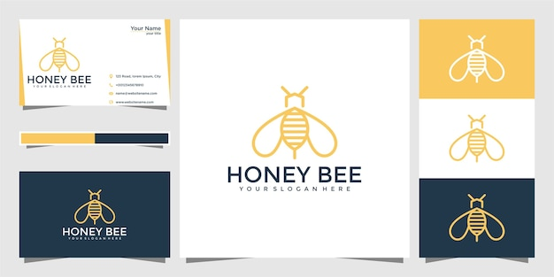 Abelha mel criativo ícone símbolo logotipo linha arte estilo logotipo linear. design de logotipo e cartão de visita