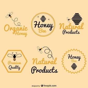 Abelha pacote de logos de mel