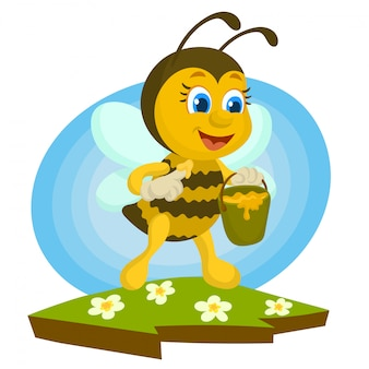 Abelha provando mel delicioso