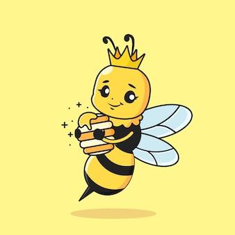 Abelha rainha fofa segurando mel