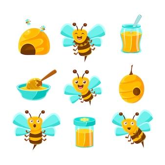 Abelhas, colméias e frascos com mel amarelo natural conjunto de ilustrações coloridas dos desenhos animados.