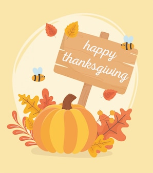 Abelhas de abóbora folhas e placa celebração de ação de graças feliz