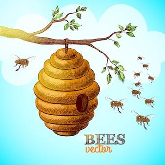 Abelhas de mel e colméia em ramo de árvore ilustração vetorial de fundo
