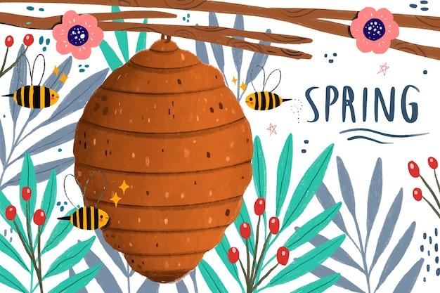 Abelhas e mel primavera está chegando