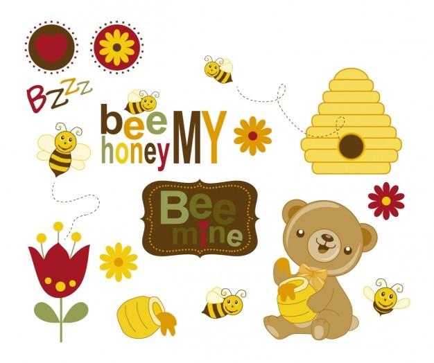 Abelhas e urso com mel