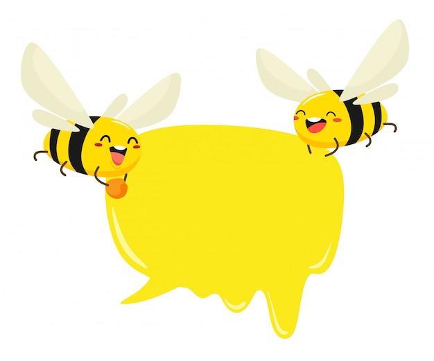Abelhas engraçadas com bolha para texto