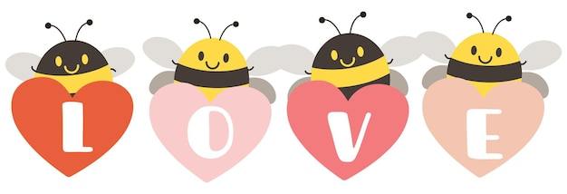Abelhas fofas segurando corações que escrevem a palavra amor na ilustração de fundo branco