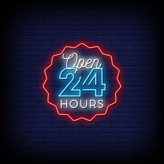 Aberto 24 horas em vetor de texto de estilo de sinais de néon