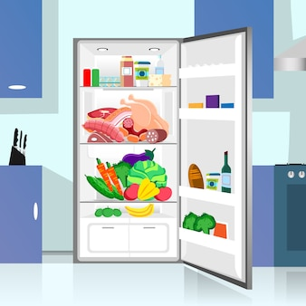 Aberto frigorífico comida casa cozinha interior