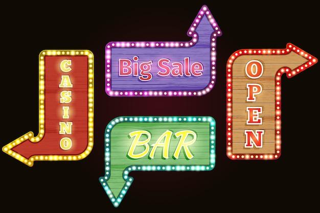 Aberto, grande venda, casino, conjunto de sinal de néon retrô de bar. design vintage, publicidade elétrica, letreiro luminoso