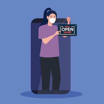 Aberto novamente após a quarentena, mulher com etiqueta de reabertura da loja no smartphone