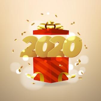 Abertura de números de 2020 e caixas de presente vermelha.