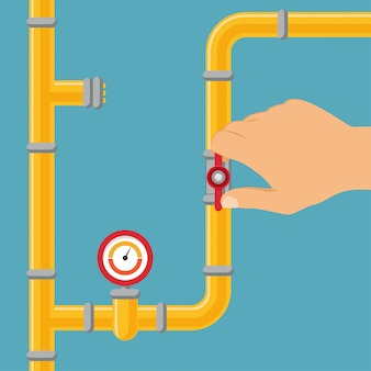 Abertura ou fechamento de um sistema de abastecimento de água, gasoduto.